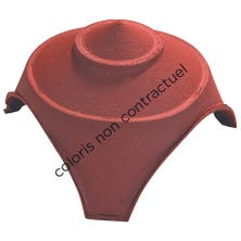 Junction and finial base with 1 large and 2 small round openings Red Nuance