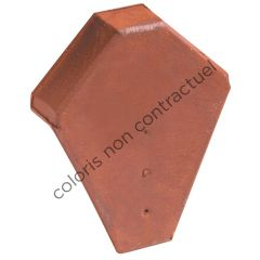 Ridge end piece for angled ridge tile with interlock Slate